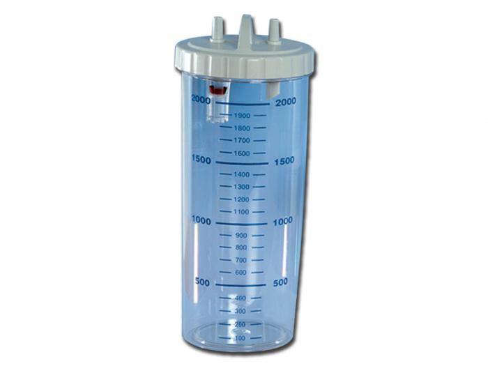 Vas aspiratie secretii / Borcan colector 2 Litri / 2000 ml pentru aspirator chirurgical - autoclavabil 121°C - capac si accesorii incluse 0