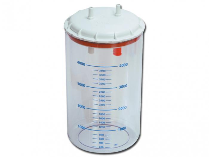 Vas aspiratie secretii / Borcan colector 4 Litri / 4000 ml pentru aspirator chirurgical - autoclavabil 121°C - capac si accesorii incluse 0
