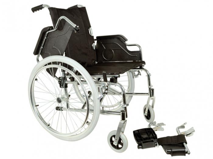 Fotoliu / scaun rulantcu sezut de46 cm - țesut negru - Pliabil - ROYAL 2