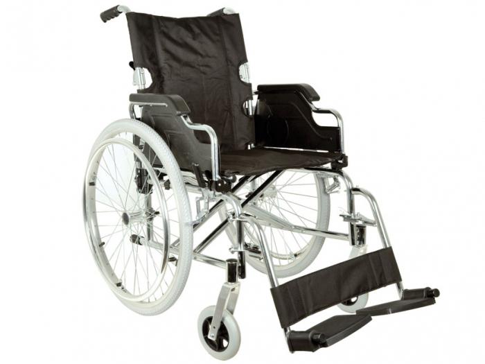 Fotoliu / scaun rulantcu sezut de46 cm - țesut negru - Pliabil - ROYAL 0