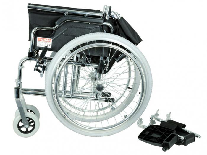 Fotoliu / scaun rulantcu sezut de46 cm - țesut negru - Pliabil - ROYAL 3
