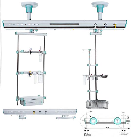 Consola gaze medicale suspendata cu suport monitor [0]