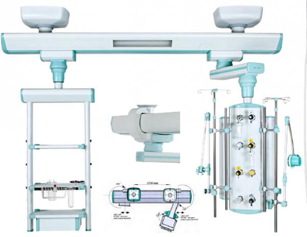 Rampa gaze medicale suspendata cu 3 suporti pentru monitoare 0