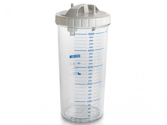 Vas aspiratie secretii / Borcan colector 5 Litri / 5000 ml pentru aspirator chirurgical - autoclavabil 134°C - capac si accesorii incluse 0