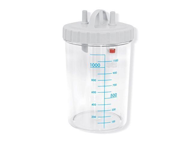Vas aspiratie secretii / Borcan colector 1 Litru / 1000 ml pentru aspirator chirurgical - autoclavabil 121°C - capac si accesorii incluse 0