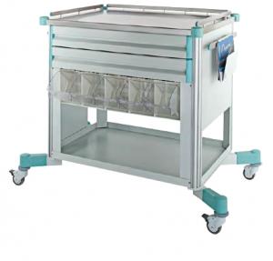 Carucior mobil pentru transport aparatura medicala si medicamente la patul pacientului1