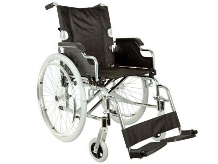 Fotoliu / scaun rulantcu sezut de46 cm - țesut negru - Pliabil - ROYAL0