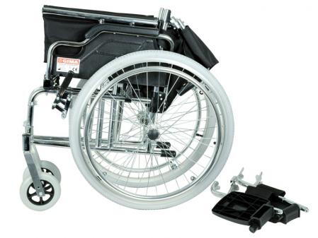 Fotoliu / scaun rulantcu sezut de46 cm - țesut negru - Pliabil - ROYAL3