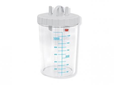 Vas aspiratie secretii / Borcan colector 1 Litru / 1000 ml pentru aspirator chirurgical - autoclavabil 121°C - capac si accesorii incluse0