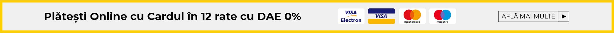 Plătește Online în 12 rate cu DAE 0%
