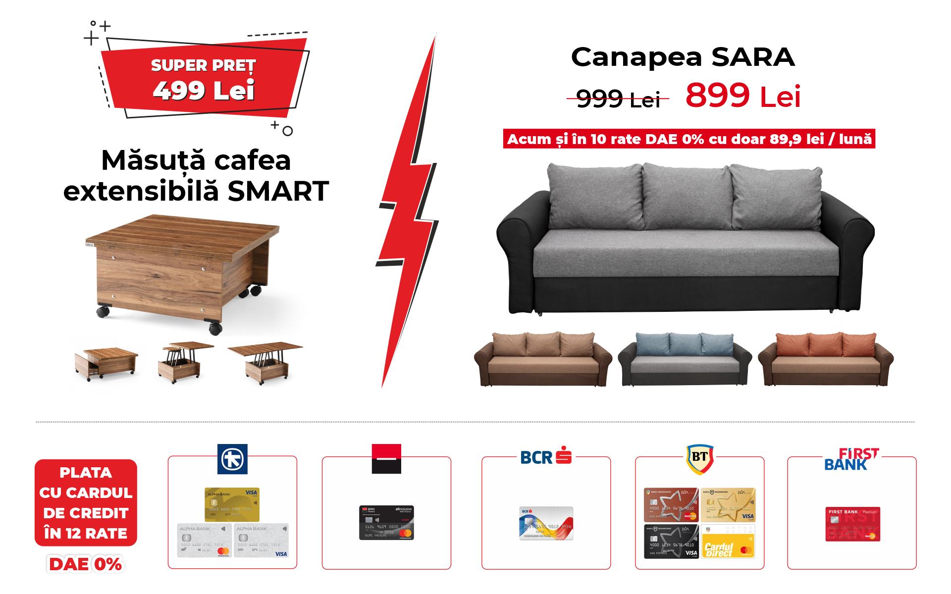 Ofertă Masuta SMART si Canapea SARA Mobil