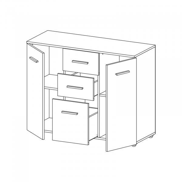 Comoda Alma cu 2 usi si 3 sertare - ExpoMob [3]