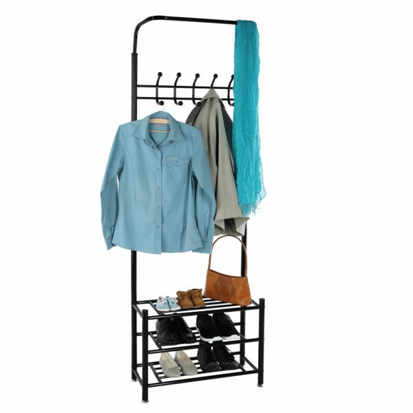 Cuier BARNUM cu dulap pentru încălţâminte, metal negru - Expomob 12