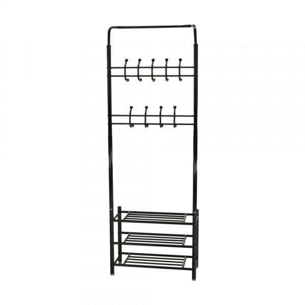 Cuier BARNUM cu dulap pentru încălţâminte, metal negru - Expomob 1