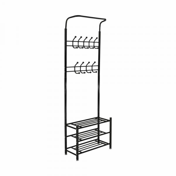 Cuier BARNUM cu dulap pentru încălţâminte, metal negru - Expomob 0