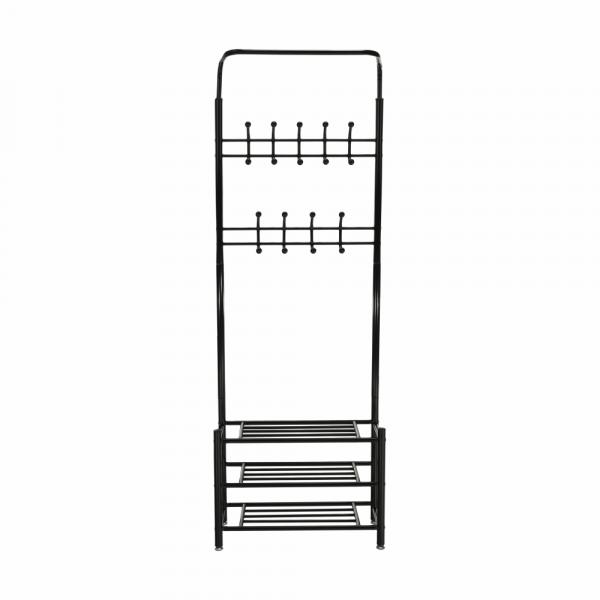 Cuier BARNUM cu dulap pentru încălţâminte, metal negru - Expomob 3