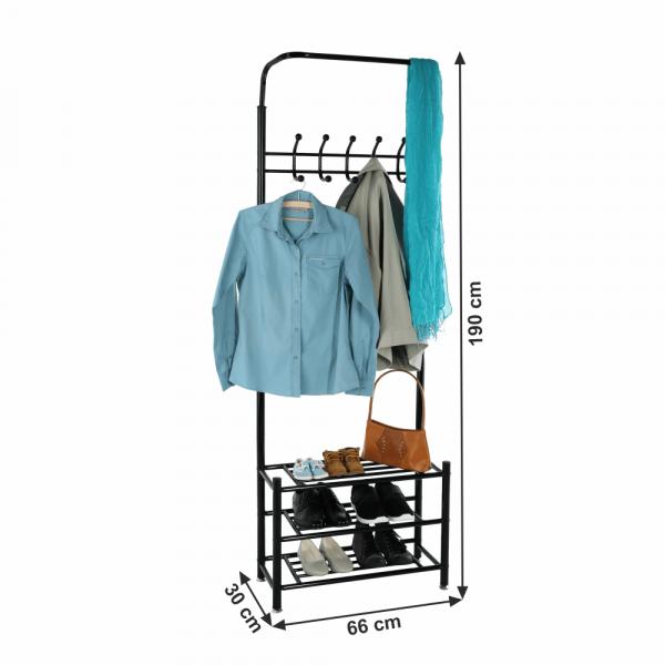 Cuier BARNUM cu dulap pentru încălţâminte, metal negru - Expomob 11