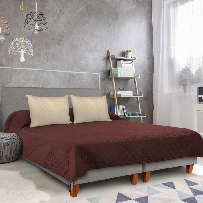 Cuvertura matlasata cu 2 fete, microfibra, 210x220 cm, Chocolate & Vanila - ExpoMob 4