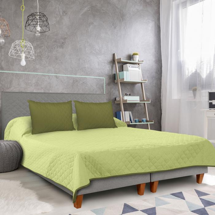 Cuvertura matlasata cu 2 fete, microfibra, 210x220 cm, Olive & Lime - ExpoMob 5