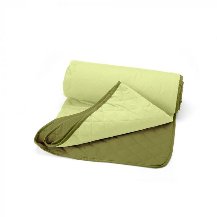 Cuvertura matlasata cu 2 fete, microfibra, 210x220 cm, Olive & Lime - ExpoMob 1