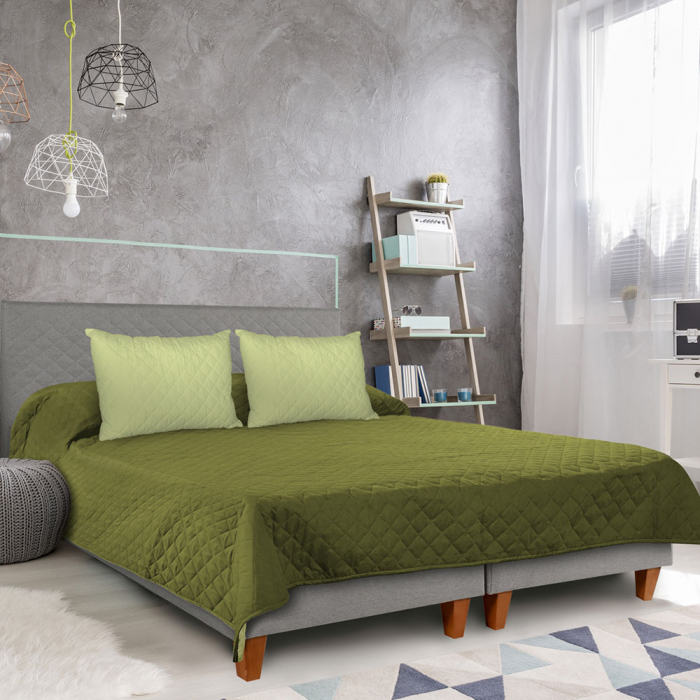 Cuvertura matlasata cu 2 fete, microfibra, 210x220 cm, Olive & Lime - ExpoMob 4