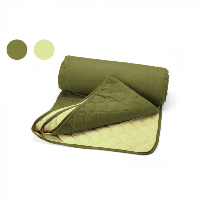 Cuvertura matlasata cu 2 fete, microfibra, 210x220 cm, Olive & Lime - ExpoMob 0