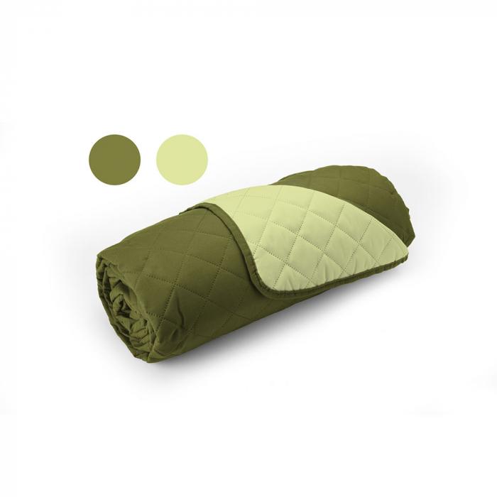 Cuvertura matlasata cu 2 fete, microfibra, 210x220 cm, Olive & Lime - ExpoMob 2