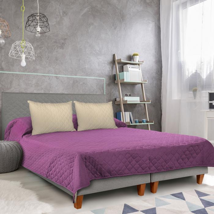 Cuvertura matlasata cu 2 fete, microfibra, 210x220 cm, Purple & Vanila - ExpoMob [4]