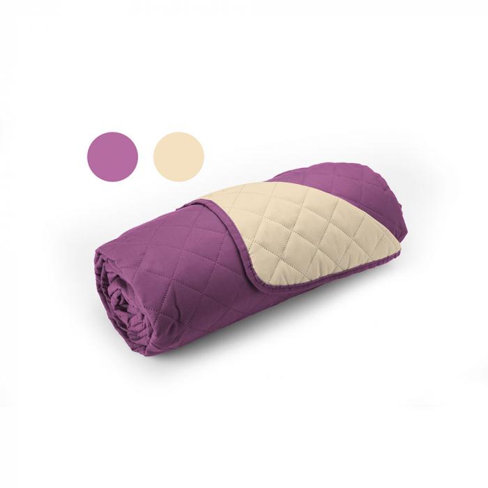 Cuvertura matlasata cu 2 fete, microfibra, 210x220 cm, Purple & Vanila - ExpoMob [2]