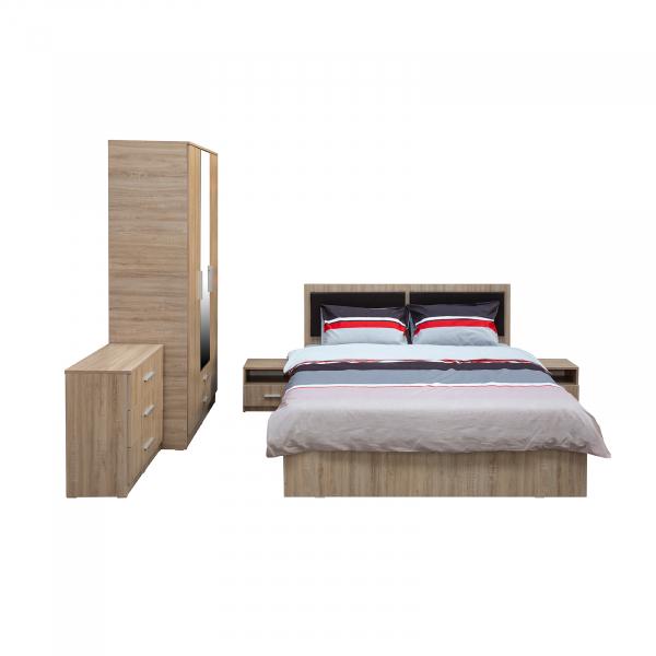 Dormitor complet OFELIA, Dulap 3 usi, Pat 160x200 cu Tablie tapitata si sertar, 2 noptiere si comoda 3S 1