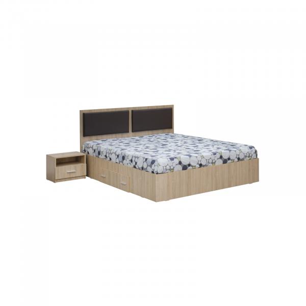 Dormitor complet OFELIA, Dulap 4 usi, Pat 160x200 cu Tablie tapitata si sertar, 2 noptiere si comoda 3S 2