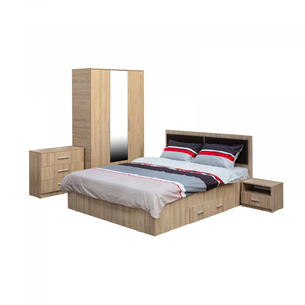 Dormitor complet OFELIA, Dulap 3 usi, Pat 160x200 cu Tablie tapitata si sertar, 2 noptiere si comoda 3S 0