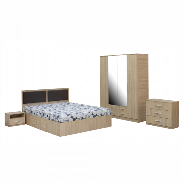 Dormitor complet OFELIA, Dulap 4 usi, Pat 160x200 cu Tablie tapitata si sertar, 2 noptiere si comoda 3S 0