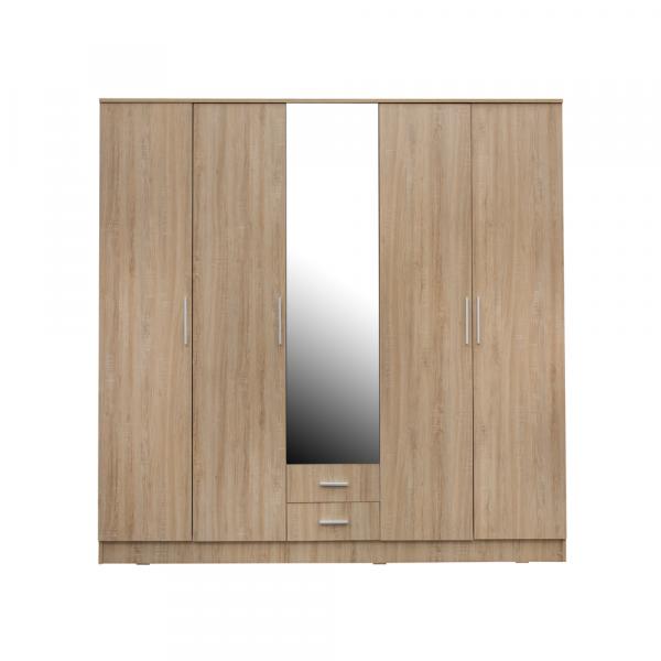 Dormitor complet OFELIA, Dulap 5 usi, Pat 160x200 cu Tablie tapitata si sertar, 2 noptiere si comoda 3S 1