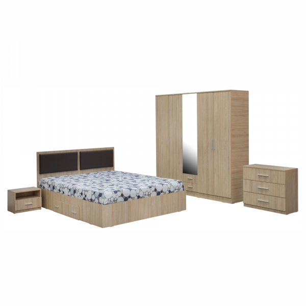 Dormitor complet OFELIA, Dulap 5 usi, Pat 160x200 cu Tablie tapitata si sertar, 2 noptiere si comoda 3S 0