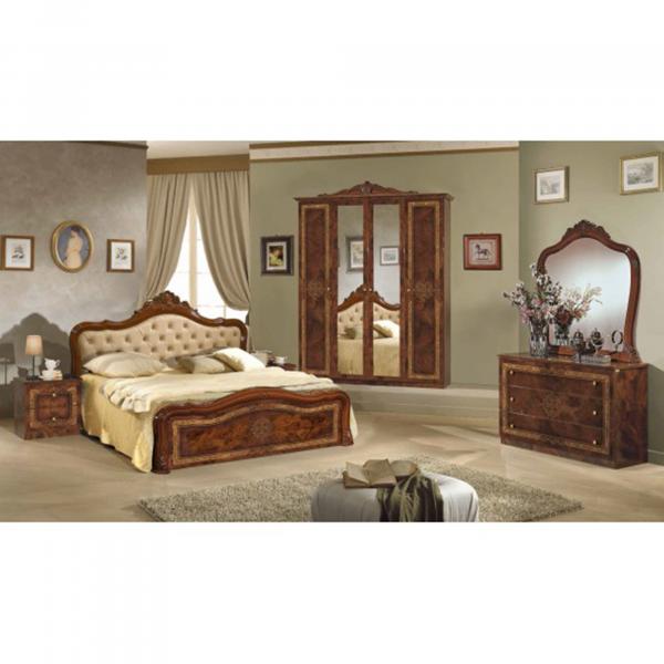 Dormitor LUISA 4 USI + somiera metalica cu lamele din lemn de fag 1
