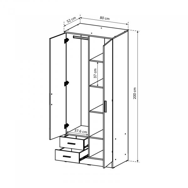 Dulap Ofelia cu 2 usi pentru dormitor - ExpoMob 3