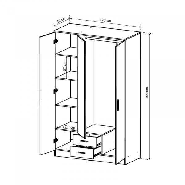 Dulap Ofelia cu 3 usi pentru dormitor - ExpoMob 4