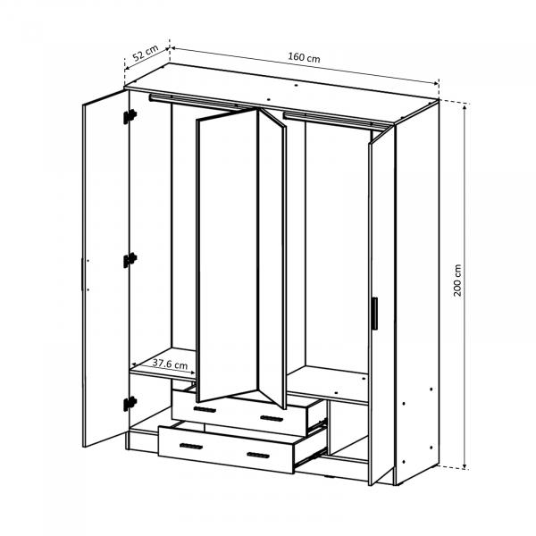 Dulap Ofelia cu 4 usi pentru dormitor - ExpoMob 3