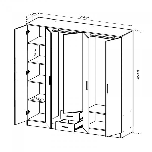Dulap Ofelia cu 5 usi pentru dormitor - ExpoMob 3