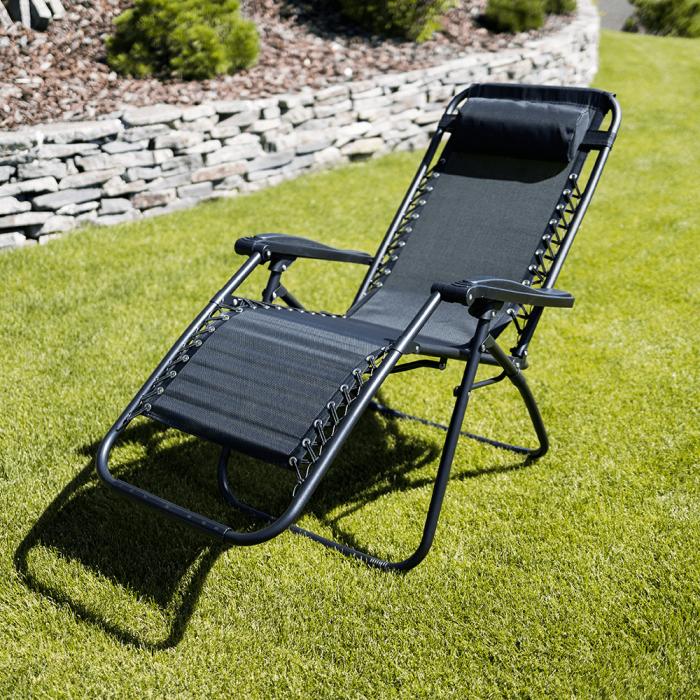 Şezlong de grădină reglabil, negru, GERALD - Expomob 15