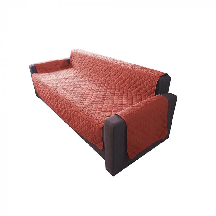 Husa pentru canapea 3 locuri matlasata cu doua fete, Coral / Vanila - Expomob [0]