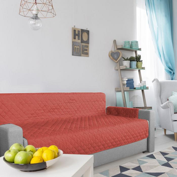 Husa pentru canapea 3 locuri matlasata cu doua fete, Coral / Vanila - Expomob [4]