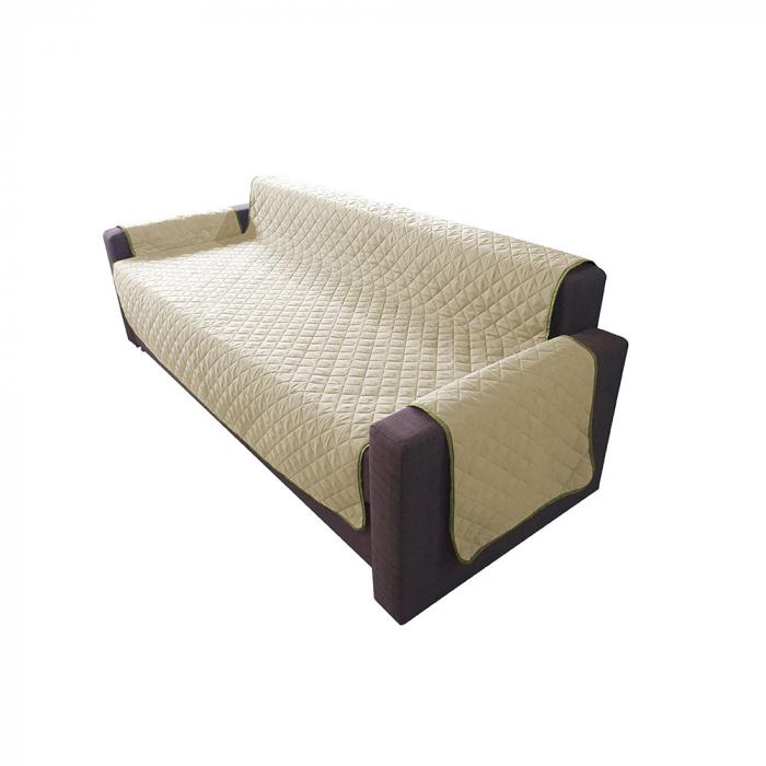 Husa pentru canapea 3 locuri matlasata cu doua fete, Olive / Vanila - Expomob 1