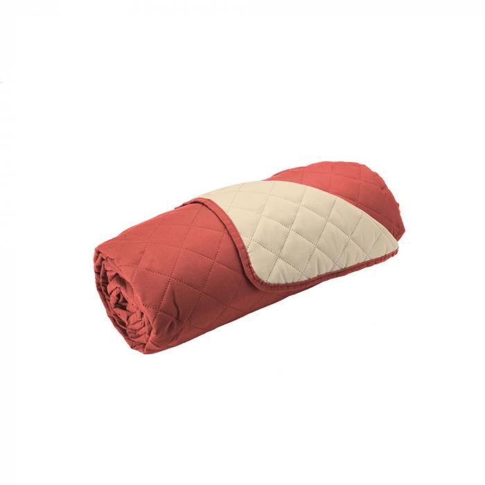 Husa pentru canapea 3 locuri matlasata cu doua fete, Coral / Vanila - Expomob [2]