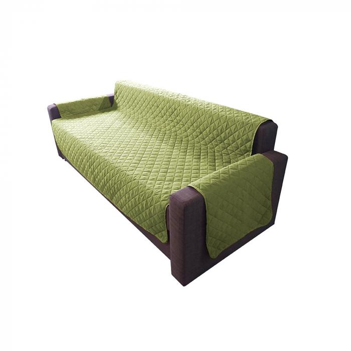 Husa pentru canapea 3 locuri matlasata cu doua fete, Olive / Vanila - Expomob 0