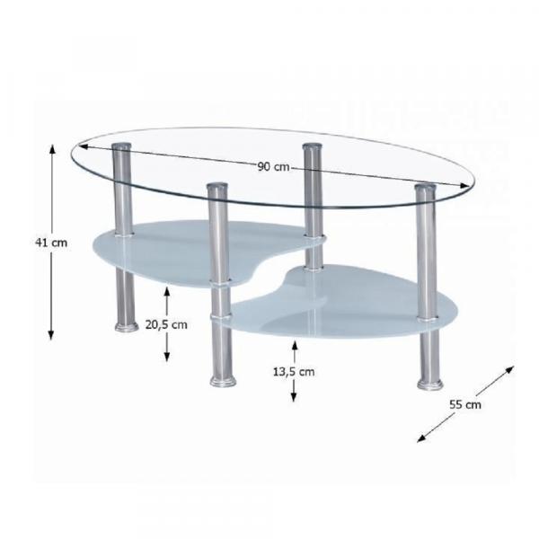Măsuţă de cafea WAVE NEW, oţel/sticlă transparentă/sticlă de culoarea laptelui - Expomob 1
