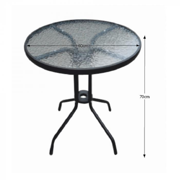 Masă grădină, oţel negru/sticlă securizată, BORGEN TYP 1 - Expomob 2