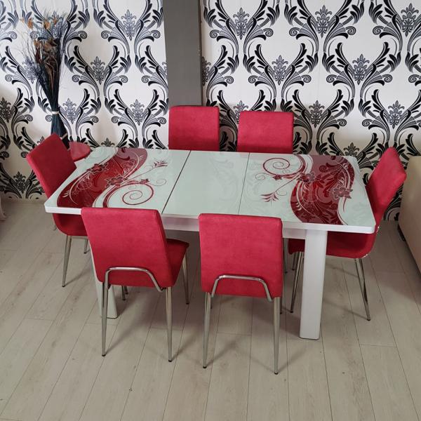 Set masa cu blat de sticla extensibila VIVA cu 6 scaune 0