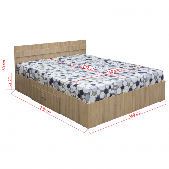Pat Alma 140x200 cu sertar pentru dormitor - ExpoMob [1]